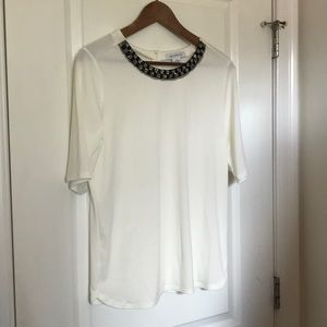Liz Claiborne White Beaded Neck Blouse